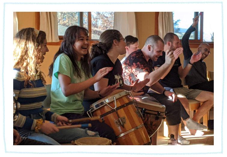 Drumming at teen retreat